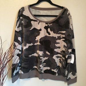 NY & Co Green & Brown Camo Sweatshirt/Shirt XL NWT